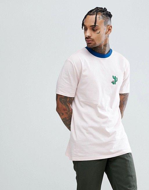 ASOS DESIGN - T-shirt long avec broderie cactus et bordure contrastante