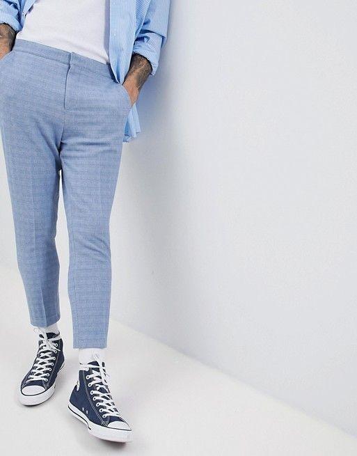 ASOS DESIGN - Pantalon habillé et texturé coupe fuselée avec arrière élastique - Bleu