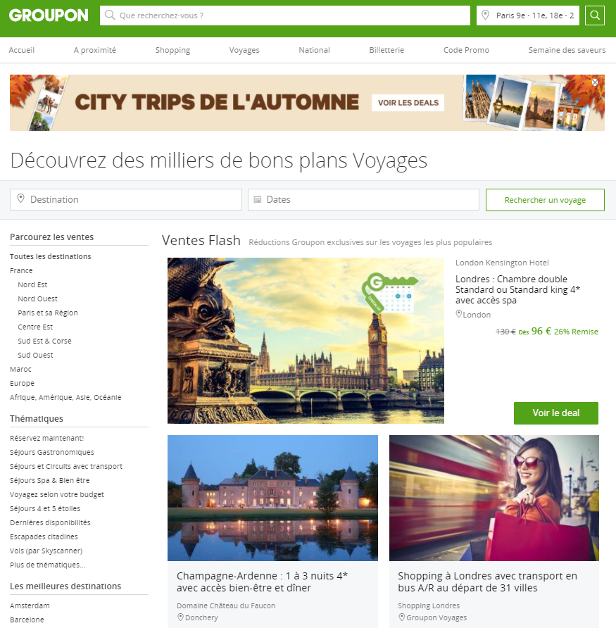 Groupon offre voyage